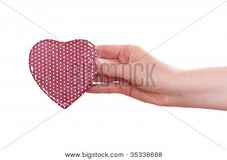 Red Heart In A Female Hand
