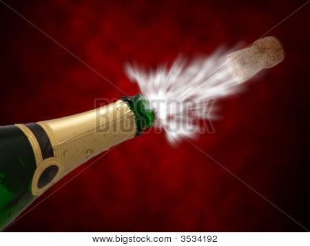 Happy new year with champagne isolated on colorful background