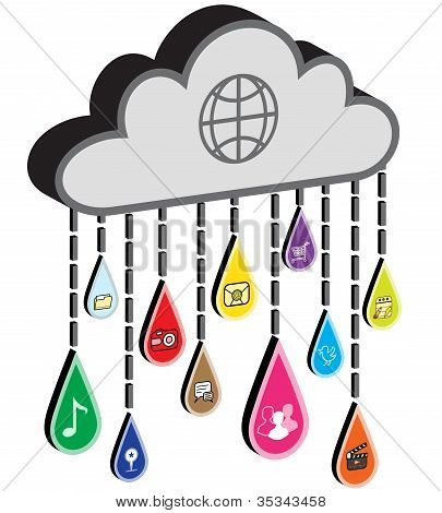 Internet Cloud with Application Icon Raindrops
