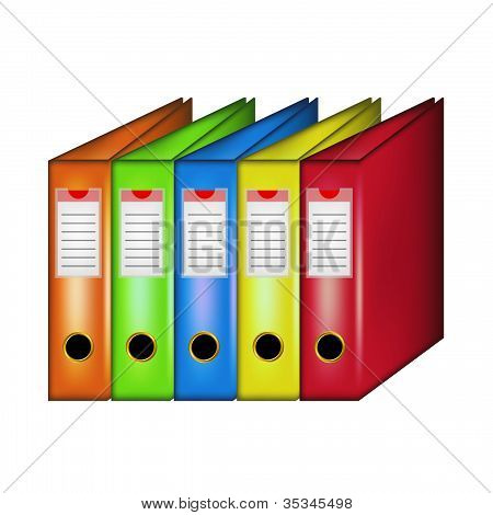 Row of office folders