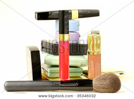 collection of decorative cosmetics - the shadow, powder, lipstick