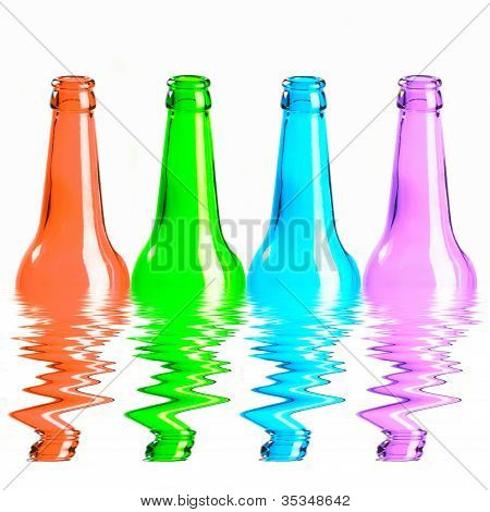 Set Of Red, Green, Blue And Pink Beer Bottles. Isolated On White Background Reflecting In Water