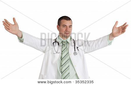 Doctor With Arms Open.