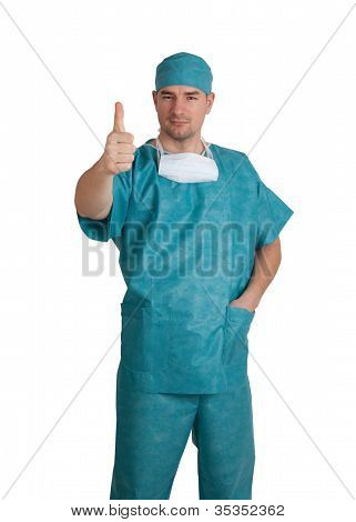 Doctor In Scrubs Thumb Up