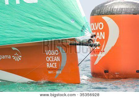 Groupama's Orange Bow Against The Orange Vor Mark Buoy