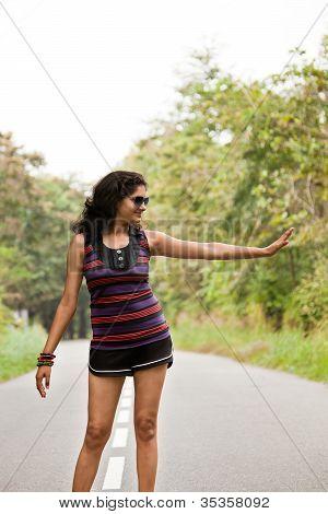 Indian young girl enjoying walking