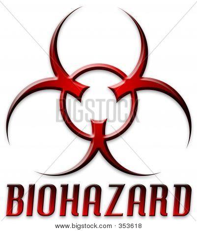 Logotipo chanfrada Biohazard vermelho