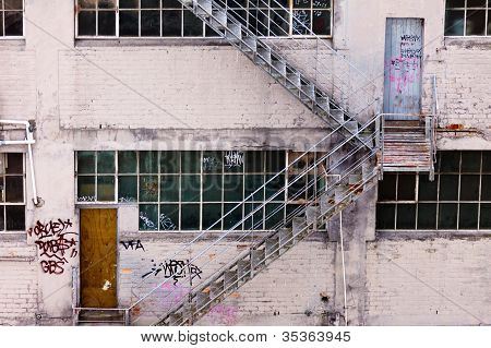 External fire escape on grungy industrial bulding