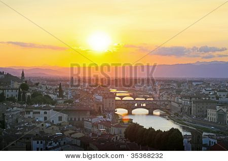 Amazing Florence Sunset Taken In Summer, Italy