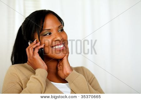 Fresh Woman Smiling And Conversing On Mobile