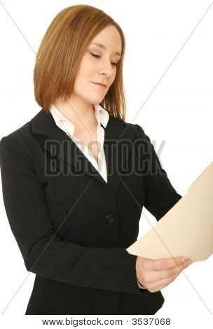 Business Woman Looking At Folder