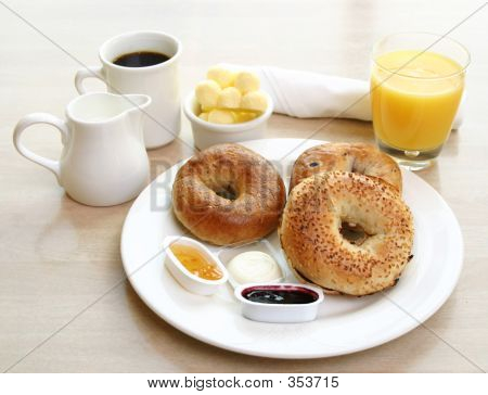 Breakfast Series  Bagels, Coffee And Juice