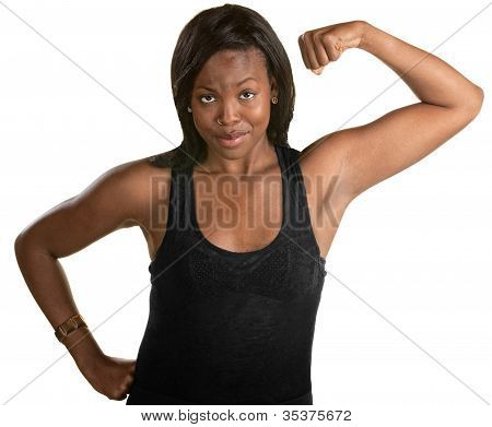 Confident Woman Flexes Her Bicep