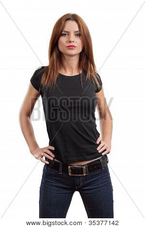 Sexy Female Posing With Blank Black Shirt