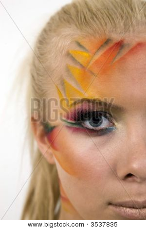 Close Up Of Pretty Young Woman With Creative Artistic Makeup.