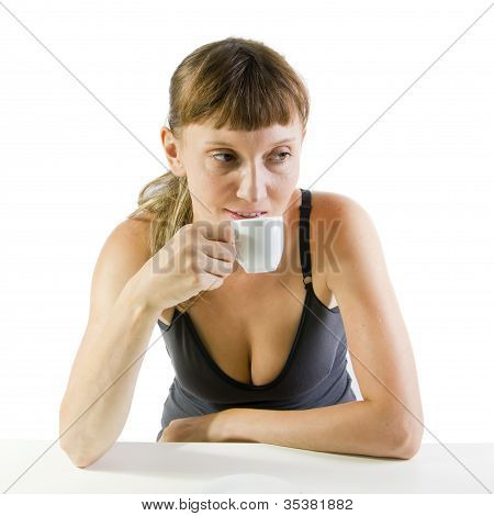 Beautiful Woman With White Cup Of Coffee