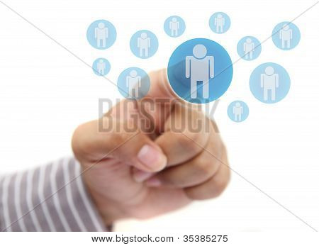Hand Pushing social network  Button