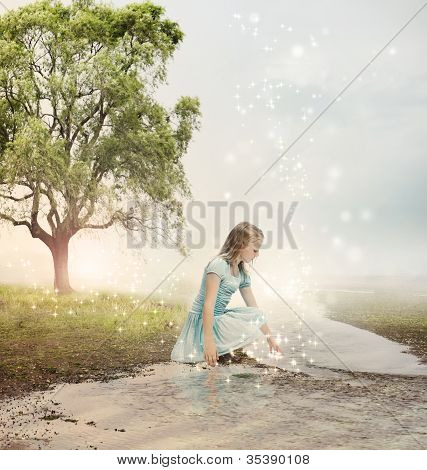 Girl At A Magical Brook