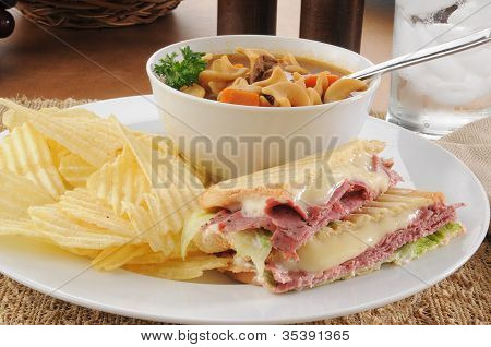 Grilled Pastrami Sandwich With Soup