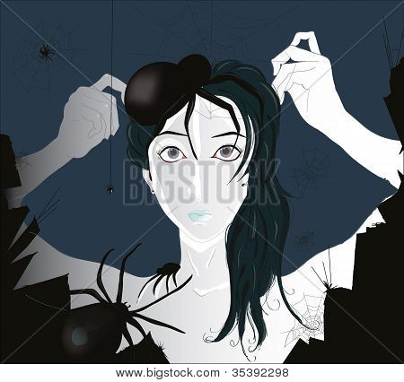 portrait of beautiful  girl with spiders