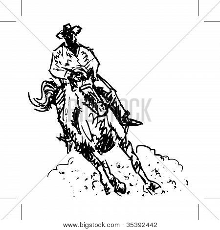 Rodeo Rider Black And White Line Art
