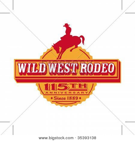Cowboy Or Rodeo Rider On Bucking Bronco Horse