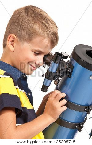 Child Looking Into Telescope On White