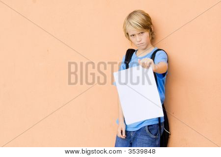 Sad Child Showing Bad Exam Results
