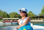 image of dalyan  - Young woman in travel of ancient Caunos city Dalyan Turkey - JPG