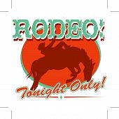 stock photo of bronco  - Fun vintage style rodeo sign for a t - JPG