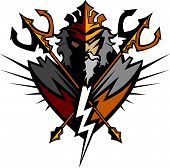 stock photo of trident  - Greek God Tridents and Lightning Bolt Graphic Vector Image - JPG