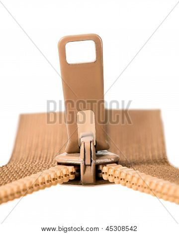 Zip marrom com dentes de Metal