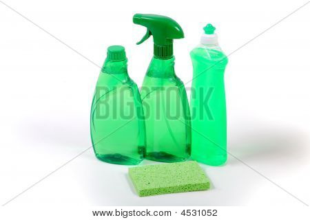 Green Environmentally Friendly Cleaning Products Concept