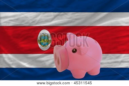 Piggy Rich Bank And  National Flag Of Costarica