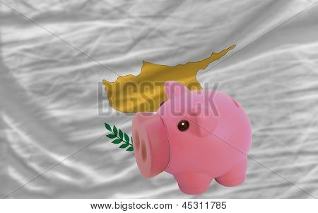 Piggy Rich Bank And  National Flag Of Cyprus