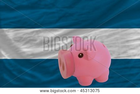 Piggy Rich Bank And  National Flag Of El Salvador