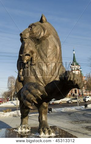 Irkutsk,RU-Nov.18,2012:Bronze figure of a mythical beast babr in Nov.18,2012 in Irkutsk, RU