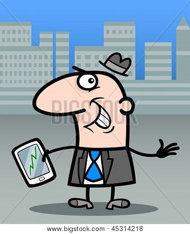 Businessman With Tablet Pc Cartoon Illustration