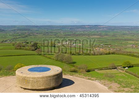 View from Glastonbury Tor Somerset England UK