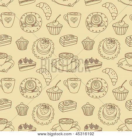 Coffee seamless line pattern.