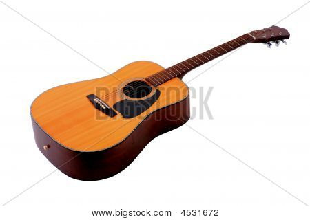 Wooden Guitar Isolated On A White Background