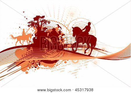 Abstract Silhouettes Of Horse Riders