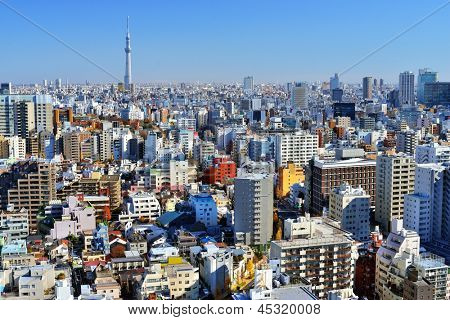 Urban cityscape of Tokyo with the Tokyo Skytree in the distance.
