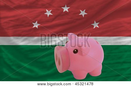 Piggy Rich Bank And  National Flag Of  Of Maghreb