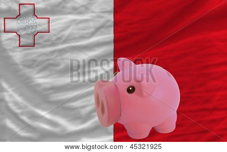 Piggy Rich Bank And  National Flag Of Malta