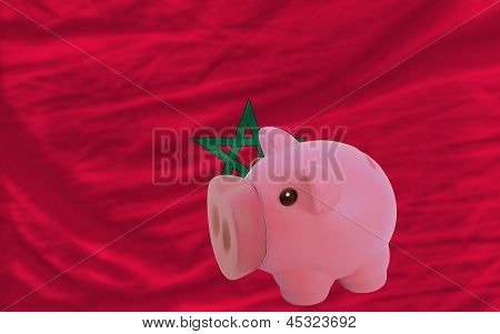 Piggy Rich Bank And  National Flag Of Morocco