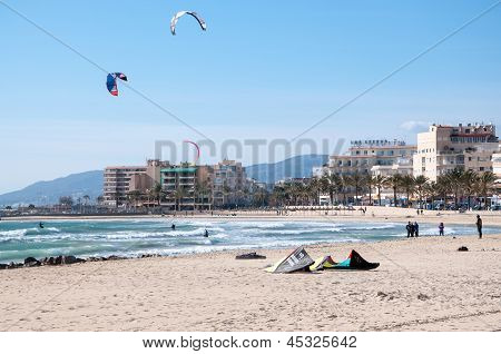 Beach with kites in Can Pastilla, Majorca.