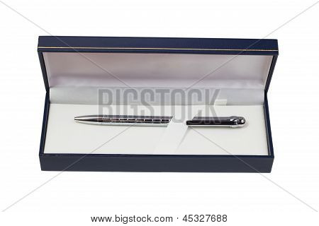 silver ballpoint pen gift box isolated white background clipping