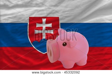 Piggy Rich Bank And  National Flag Of Slovakia
