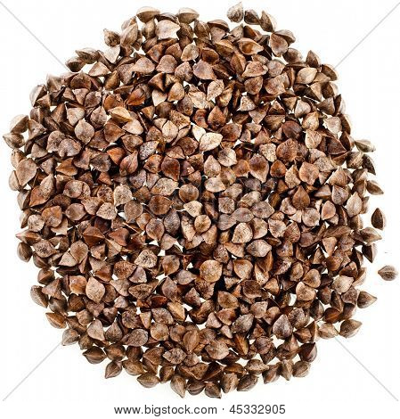 buckwheat raw seeds close up macro shot  isolated on white background